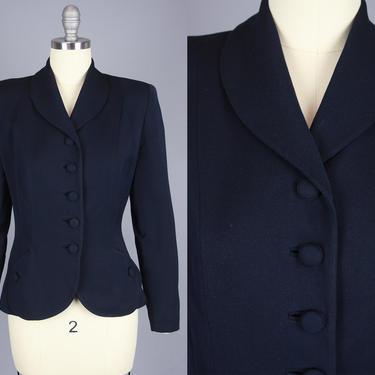 1940s GABARDINE Blazer | Vintage 40s 50s Dark Blue Wool Jacket | small by RelicVintageSF