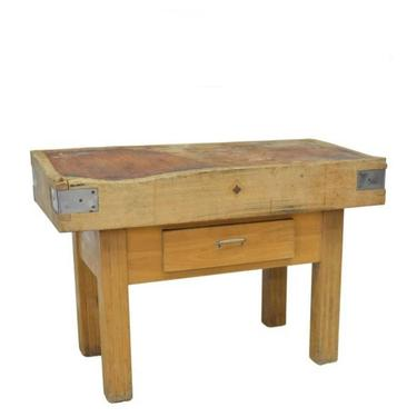 Antique French Mixed Wood Industrial Butcher Block Work Table by LynxHollowAntiques