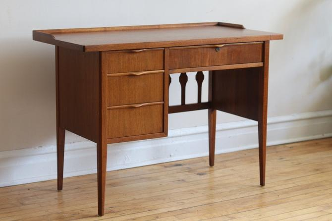 Mid Century Modern Walnut Desk with Finished Back by SharkGravy