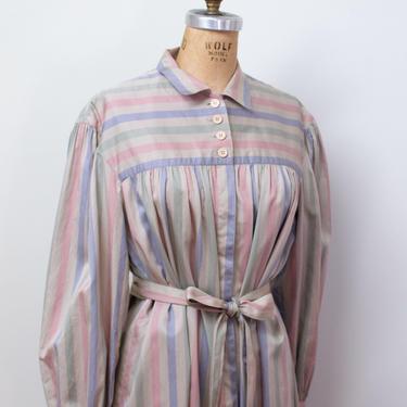 1980s Striped Shirtdress | 80s Cotton Dress Adele Simpson by FemaleHysteria