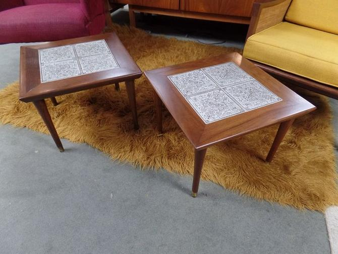 Pair of Mid-Century Modern tile top square tables