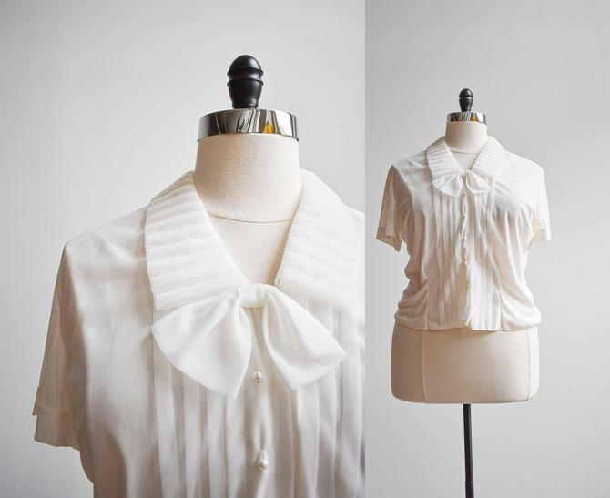 50s White Nylon Blouse with Bow by milkandice