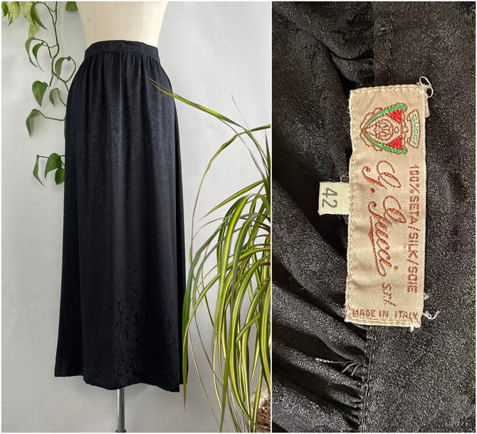 GUCCI 70s 80s Silk Lush Floral Jacquard Skirt   1970s 1980s Made in Italy, Italian Black Skirt   Vintage Designer   Size Medium Large by lovestreetsf