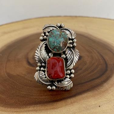 DOUBLE UP Sterling Silver, Turquoise, & Coral Ring | Large Statement Ring | Native American Navajo Jewelry | Southwest | Size 9 by lovestreetsf