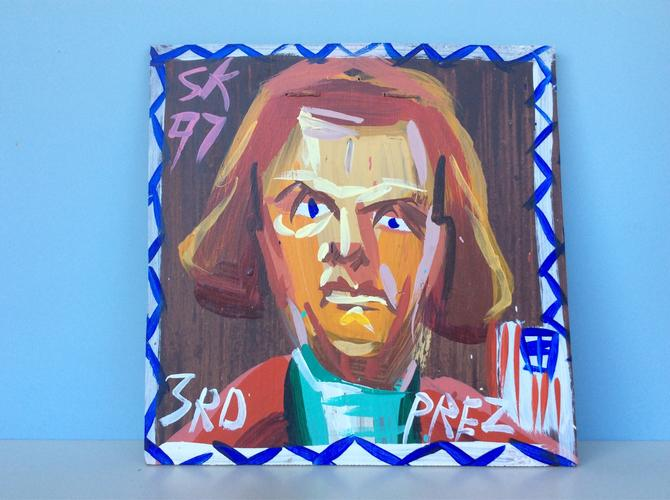 President Jefferson Abstract Painting, Outsider Art, by Steven Keene by nauhaus