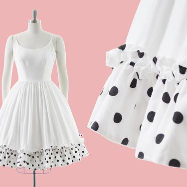 Vintage 1950s Sundress | 50s Polka Dot Ruffled White Cotton Spaghetti Strap Circle Skirt Day Dress (small/medium) by BirthdayLifeVintage