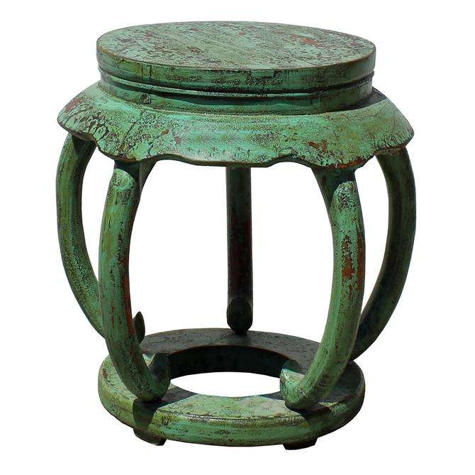 Distressed Light Teal Green Lacquer Curved Legs Wood Stool Table cs5129S