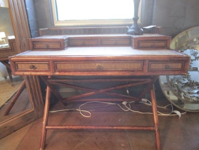 VINTAGE BRITISH COLONIAL X STRETCHER CAMPAIGN DESK WITH BAMBOO DETAIL AND CHAIR