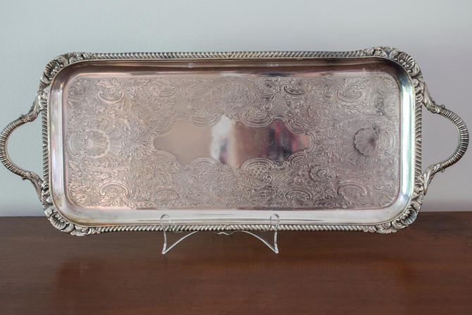 Vintage Rectangle Silver Tray with Handles by CapitolVintageCharm