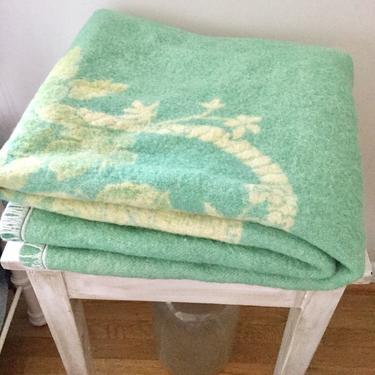 Vintage Reversible Wool Blanket Golden Dawn Blanket Cottage Shabby Chic Decor Vintage Bedding by AuntyEntitysVintage