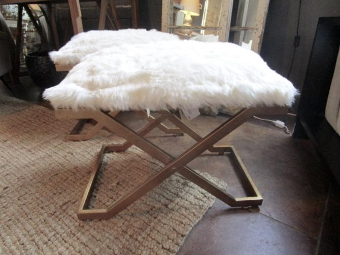 PAIR OF GOLD WASH IRON AND FAUX FUR BENCHES PRICED SEPERATLEY