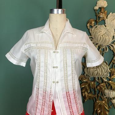 1950s blouse, white nylon blouse, vintage 50s blouse, rhinestone buttons, vintage lace blouse, size medium, rockabilly style, mrs maisel by BlackLabelVintageWA
