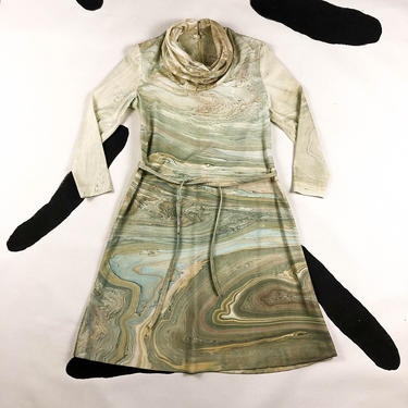 70s Don Luis Espana Marble Print Cowl Neck Dress / Long Sleeve / Sculptural / Spain / Rock / Space / Milky Way / Bonwit Teller / Large / L by badatpettingcats