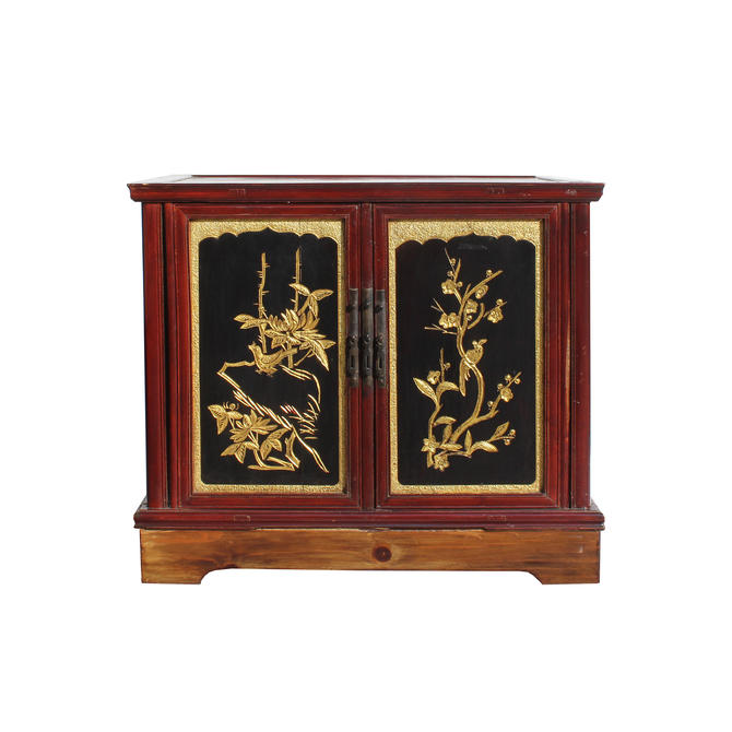 Chinese Vintage Fujian Golden Carving Low Table Cabinet cs5858E by GoldenLotusAntiques