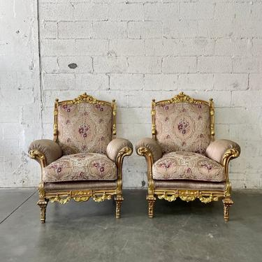 French Chair Vintage Chair *3 Piece Set Available* French Bergere Chair Vintage Settee Furniture Chair Chair Frame Rococo Interior Design by SittinPrettyByMyleen