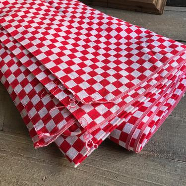French Red Gingham Bistro Fabric, Café Red Check, French Farmhouse Textiles, Sewing Project by JansVintageStuff
