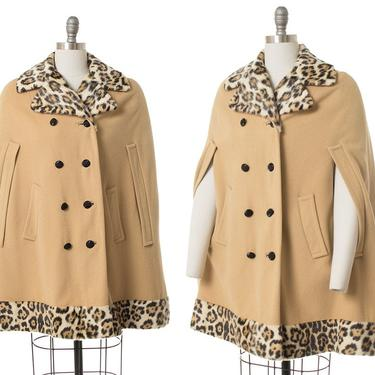 Vintage 1960s Cape   60s Leopard Print Faux Fur & Camel Colored Wool Poncho Coat (small/medium) by BirthdayLifeVintage