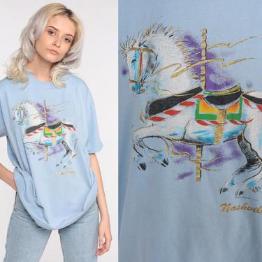 Carousel Horse Shirt Nashville Graphic Tshirt Animal T Shirt 80s Screen Print Tshirt 90s Vintage Retro Tee Single Stitch Medium Large by ShopExile
