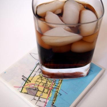 1998 Daytona Beach Florida Map Handmade Map Coaster - Ceramic Tile Coaster - Repurposed 1990s Truckers Atlas - OOAK Drink Coasters by allmappedout