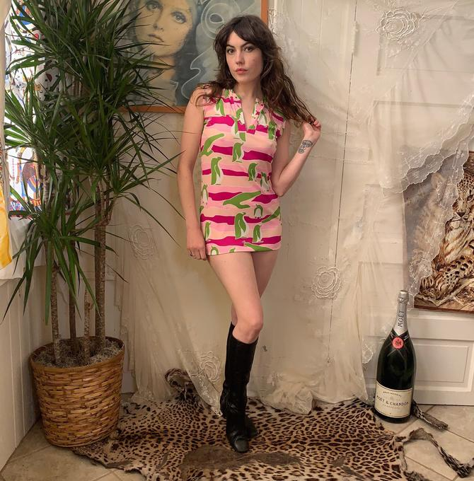 70's MICRO MINI DRESS - novelty print - penguins and seals = pink magenta green - small by GlamItToHell
