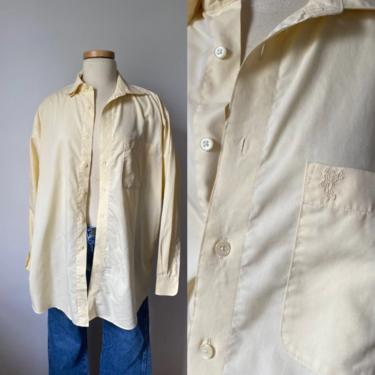 Soft Yellow Menswear Button Down by DiscoLaundryVintage