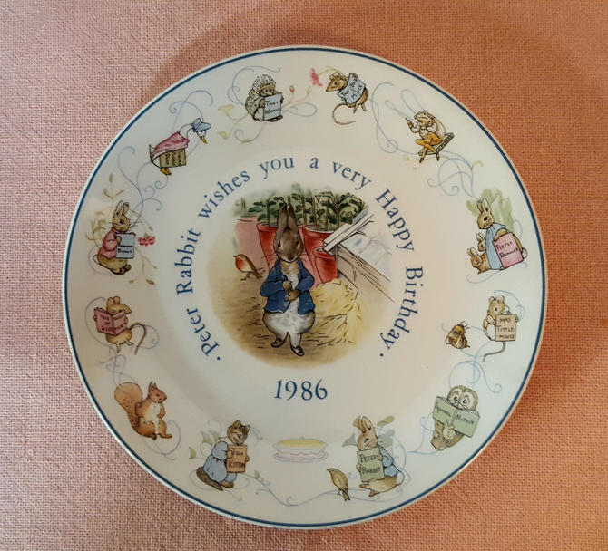 Vintage Beatrix Potter Nursery Ware 1986 Peter Rabbit Birthday Plate By Wedgwood by OverTheYearsFinds