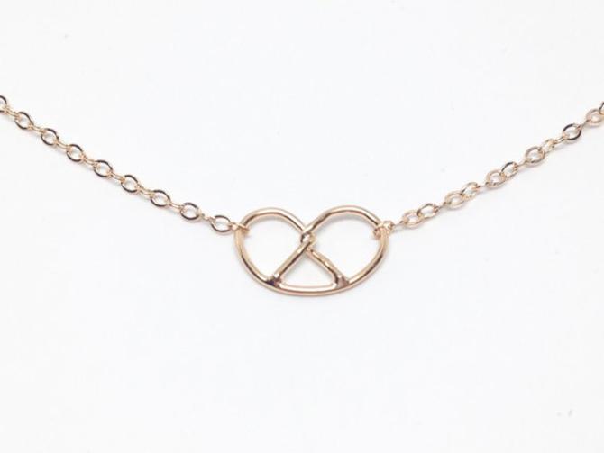 Gold Pretzel Necklace by Sarah Cecelia Jewelry by SarahCecelia