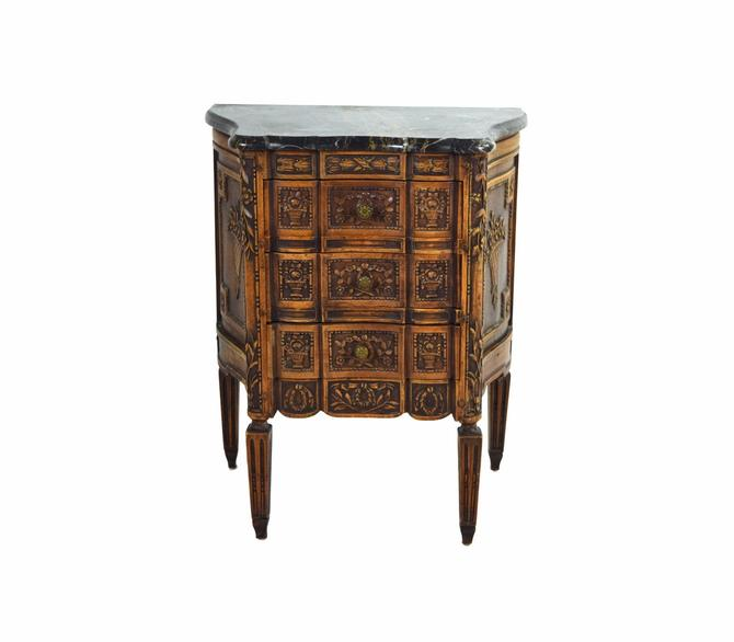 Marble Top Heavily Carved French Style End Table Nightstand Cabinet Chest by PrairielandArt