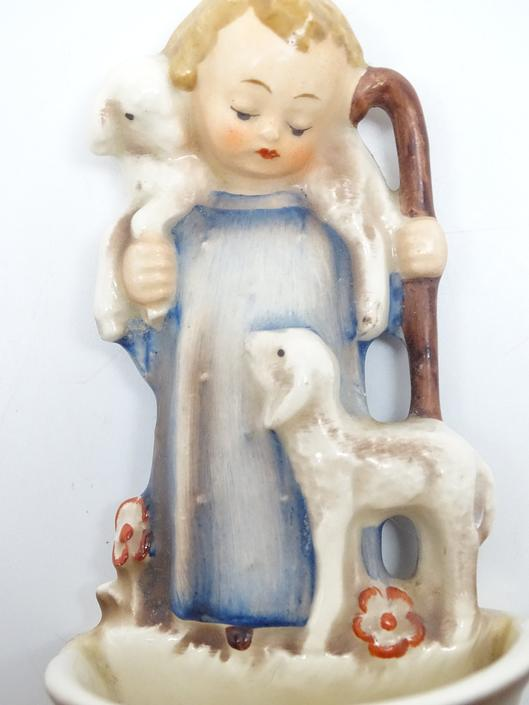 Antique  German Hummel Good Shepherd Holy Water Font, Goebel W. Germany, Hand Painted for Nativity, #35 by exploremag