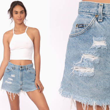 Cut Off Shorts 28 80s Denim Shorts LEE Jeans Distressed Cutoff Jean Shorts High Waisted Cutoffs Blue Vintage Frayed Bottoms Small by ShopExile