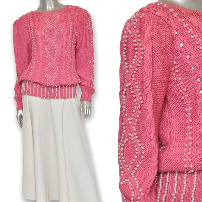 Vintage Pink knit Sweater with Pearl Beads 80's Pullover Beaded Sweater by TheUnapologeticSoul