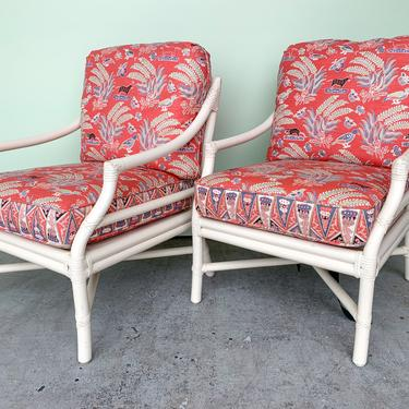 Pair of Rattan McGuire Lounge Chairs