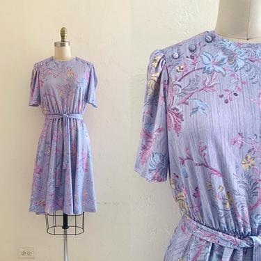 vintage 70's lavender floral dress by HarlowsVintage