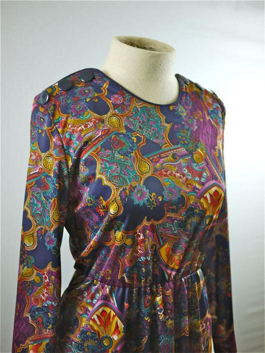Paisley and Medallion Print Long Sleeve Dress by citybone