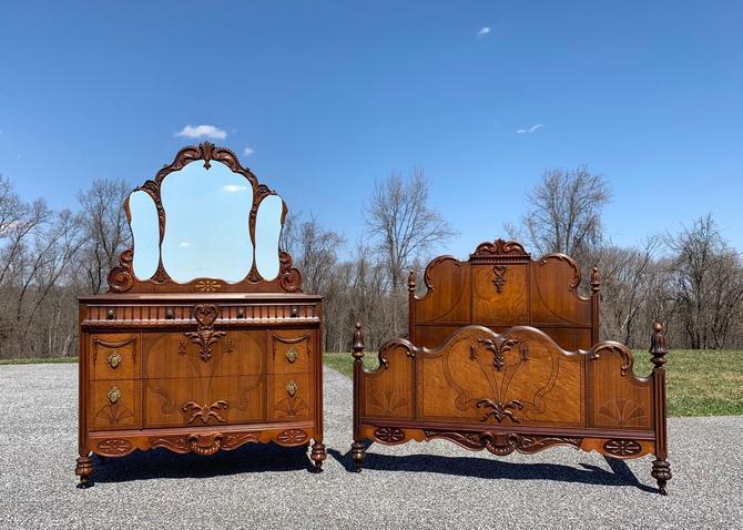 Antique Bedroom Set - Antique Dresser with Mirror - Antique Full or Queen Size Bed by ForeverPinkVintage