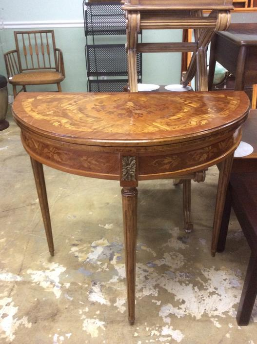 Vintage Demilune Italian style Inlaid wood and leather Table by JasperKane