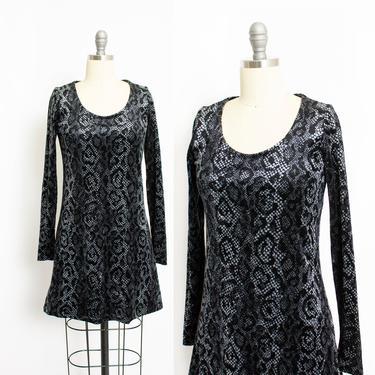 1990s Betsey Johnson Dress Velvet Snake Print S by dejavintageboutique