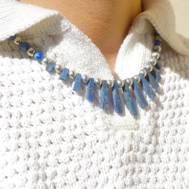 Vintage Lapis Lazuli And Silver Beaded Choker Necklace, Beaded Collar With Accent Stones, Unique Lapis and Silver Choker, 925 Jewelry by shopGoodsVintage