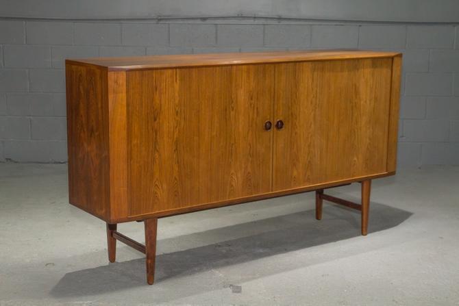 Danish Modern High Rosewood Sideboard with Tambour Doors