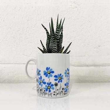 True Vintage Favolina Mug Poland Floral Blue Flower Power Coffee Tea Cup Mid Century Modern Boho Flowers Dainty Cute Kawaii by CheckEngineVintage