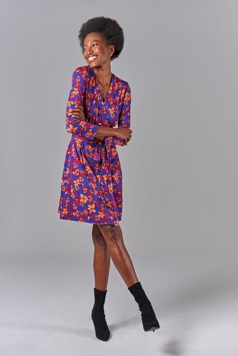 Rachel Wrap Dress   Cobalt Petals by Starlight