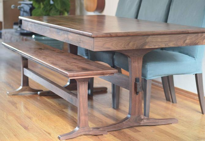 """Walnut Trestle Table Extendable Extension Table 