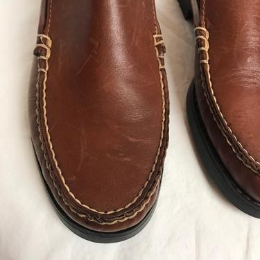 90's slip on loafers~ nice brown leather slip on shoes~ clogs~ top stitching~ 1990's dexter clogs mules ~size 9 by HattiesVintagePDX