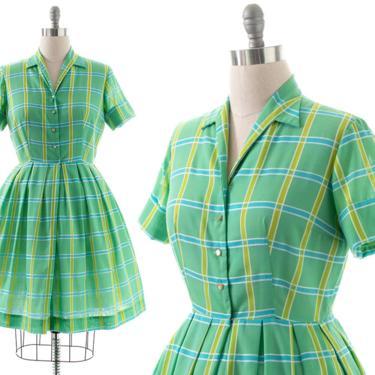 Vintage 1960s Shirt Dress | 60s Plaid Cotton Blend Green Fit and Flare Full Skirt Shirtwaist Day Dress (medium) by BirthdayLifeVintage