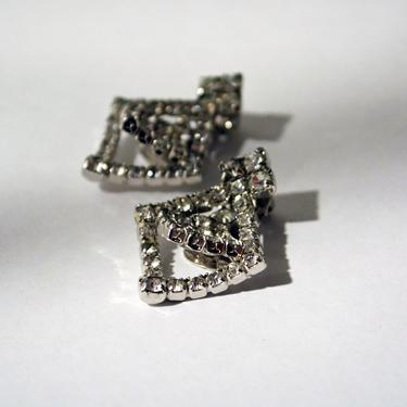vintage large rhinestone earrings 1940s Avant-Garde rhinestone 40s clip on earring sparkle 1950s 50s Avant-Garde artistic Modernist ooak by levintagecult