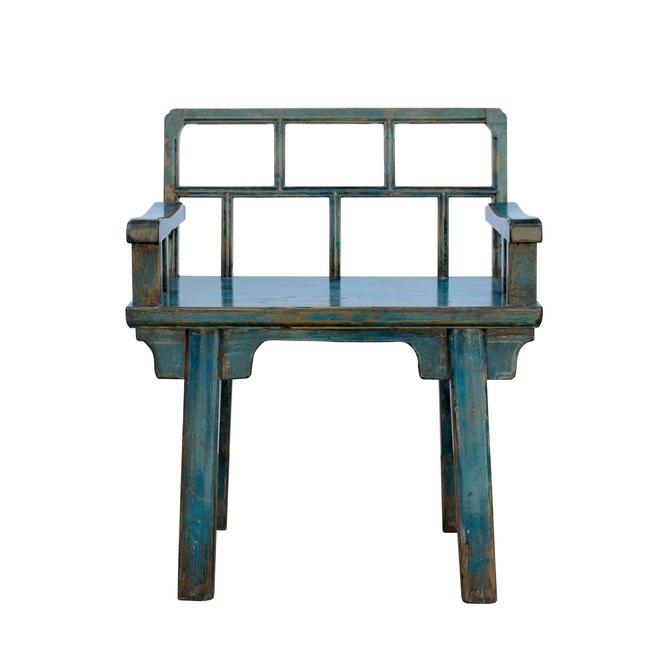 Distressed Teal Blue Lacquer Bar Panel With Back Seat Bench cs5441S