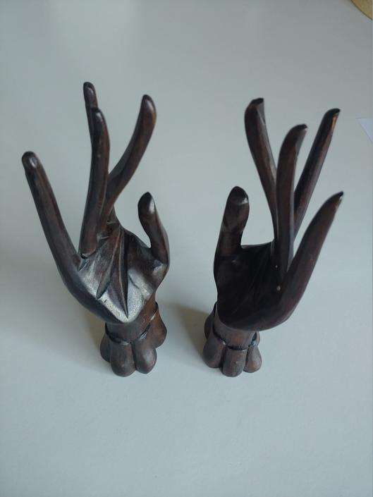 Vintage Pair of Hand Carved Sculptural Hands by ModandOzzie