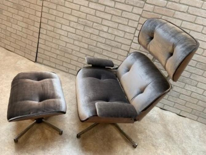 Mid Century Modern Eames Style Plycraft Lounge Chair and Ottoman Newly Upholstered - 2 Piece Set