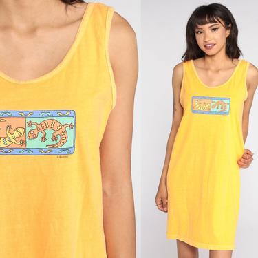 Lizard Beach Dress Gecko Print Tropical Mini Dress 90s Tank Dress Sundress 1990s Vintage Coverup Sleeveless Summer Shift Medium by ShopExile