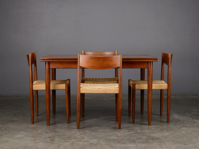 Mid Century Dining Set Table and 4 Chairs Poul Volther Danish Modern by MadsenModern